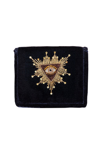 Navy Velvet Bag - Bronze Eye