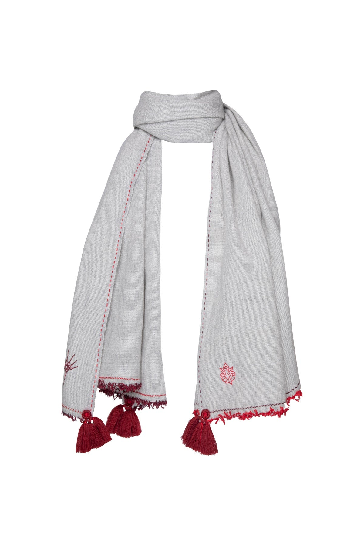 Meditation Shawl - Light Grey with Dark Red Tassels