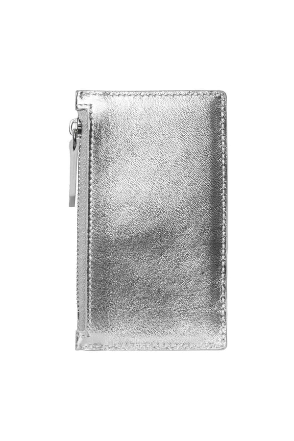 Leather Zip Card Holder - Silver