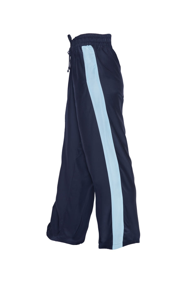 Classic Silk Joggers - Navy With Baby Blue Stripe