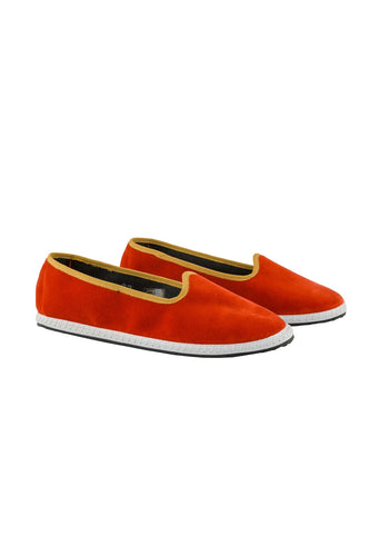Venetian Velvet Slippers - Orange