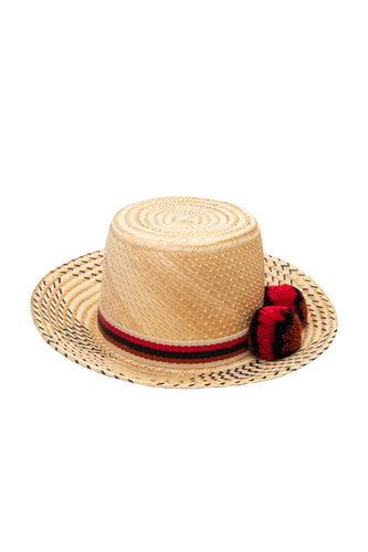 Sirena Straw Hat - Red & Black Pom Poms