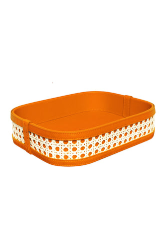 Midi Leather Rattan Tray - Orange