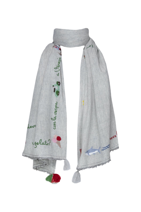 Italian Holiday Shawl - Light Grey
