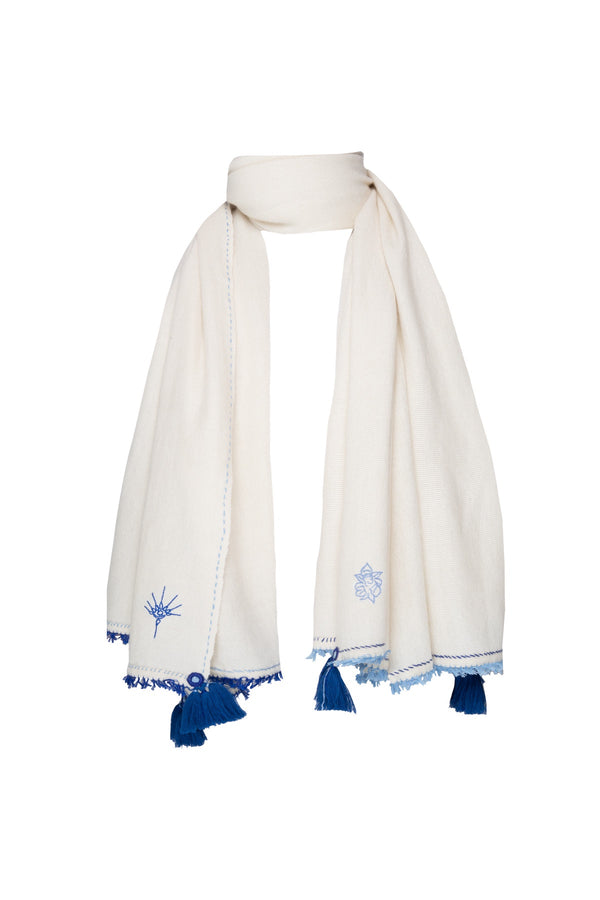 Meditation Shawl - Cream with Electric Blue Tassels