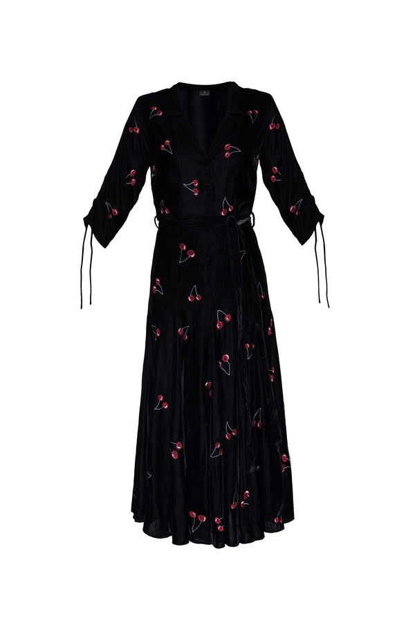 Cherry Bugesha Velvet Dress - Black