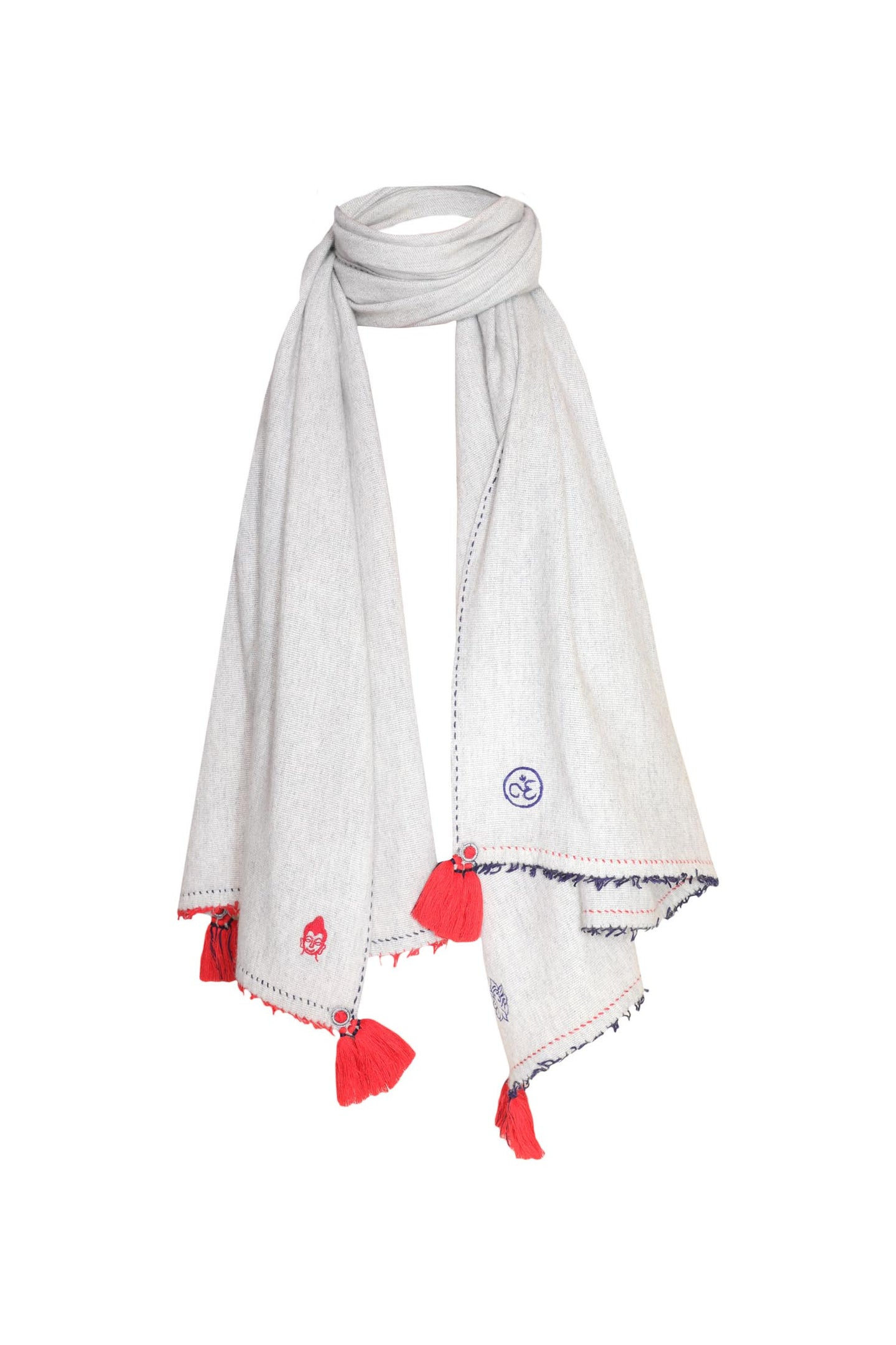 Meditation Shawl - Light Grey with Red Tassels