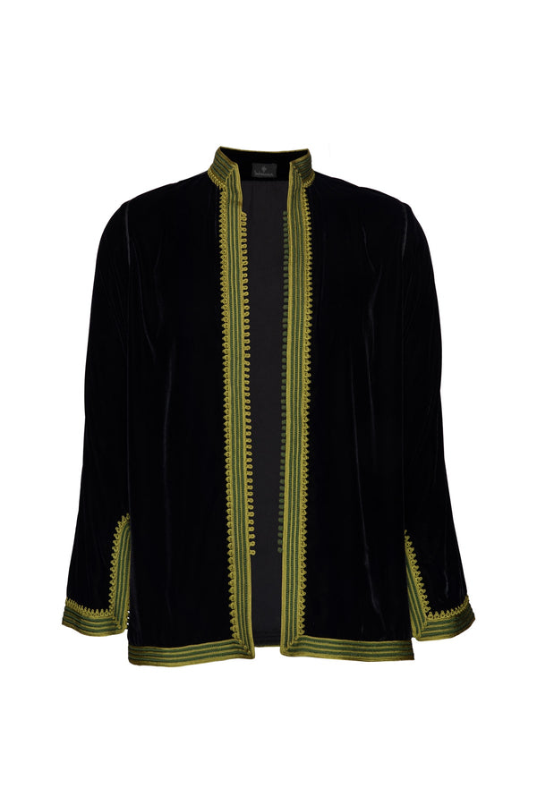 Women's Moroccan Velvet Jacket - Black
