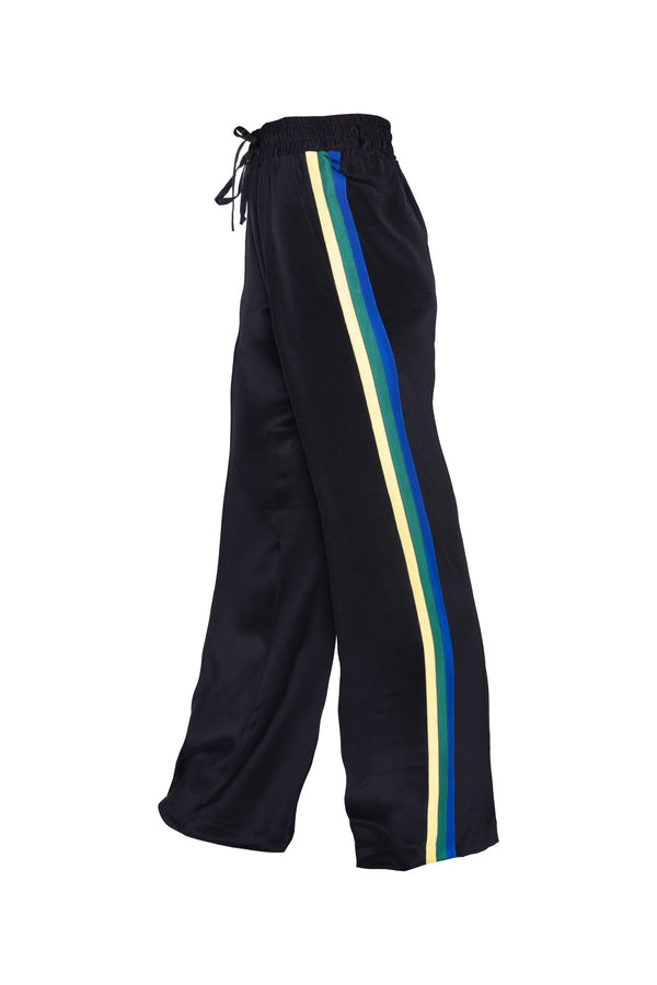 Classic Silk Joggers - Black With Jamaica Stripe