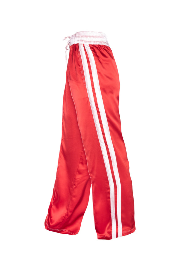 Classic Silk Joggers - Red With Pink Stripes