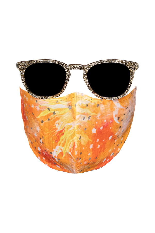 Cotton Face Mask - Orange Sun Print