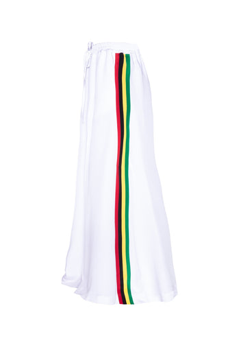 Extra Wide Silk Joggers - White With Rasta Stripes