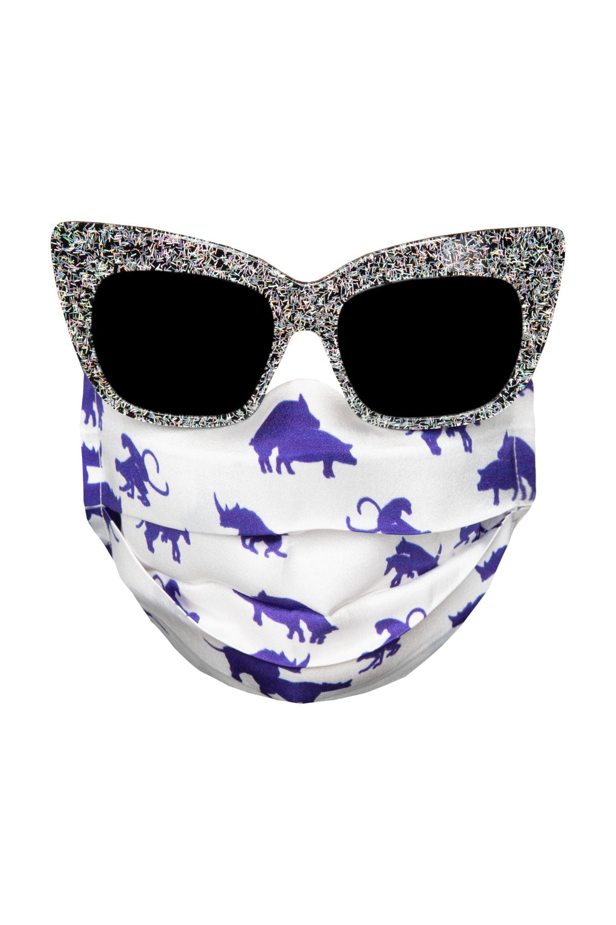 Silk Face Mask - White & Blue Animals