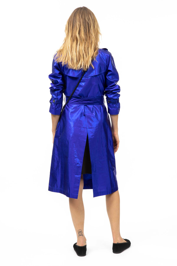 Metallic Silk Trench - Electric Blue