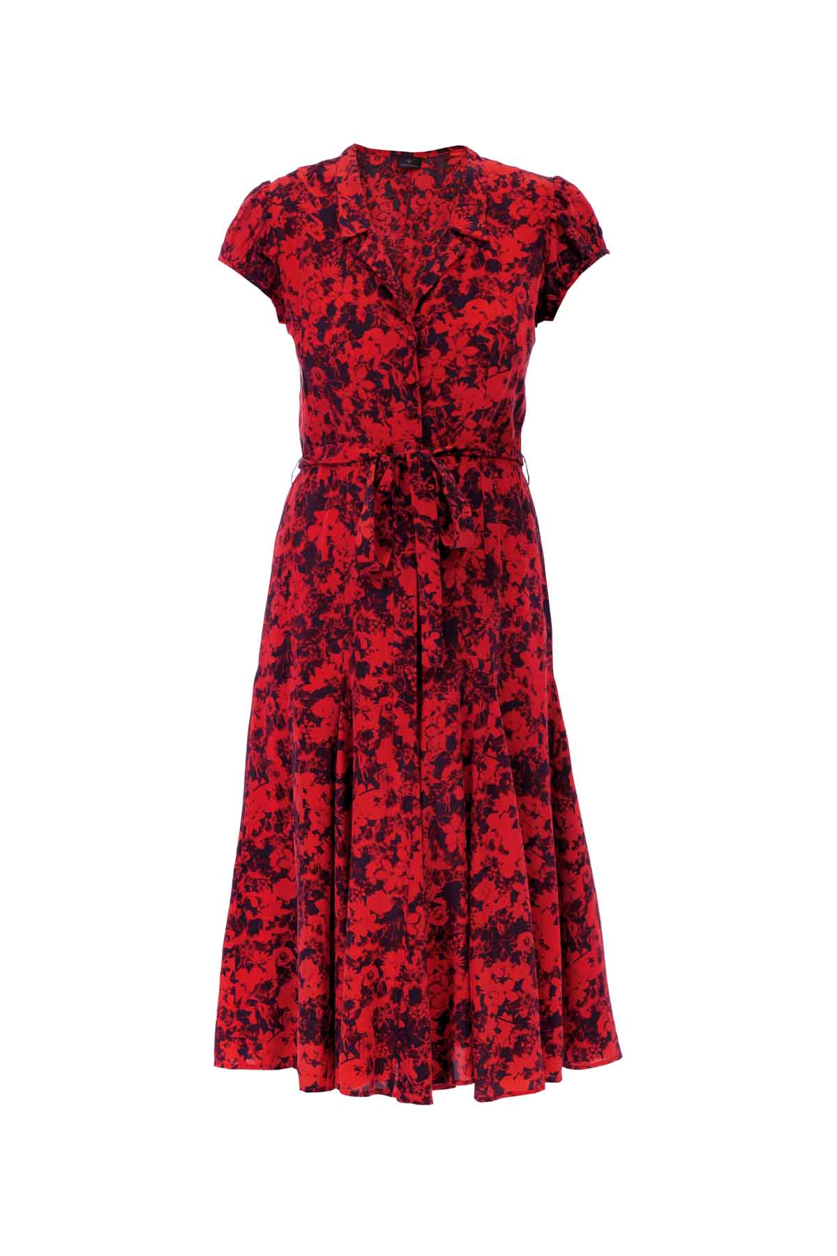 Silk Bugesha Dress - Red Floral