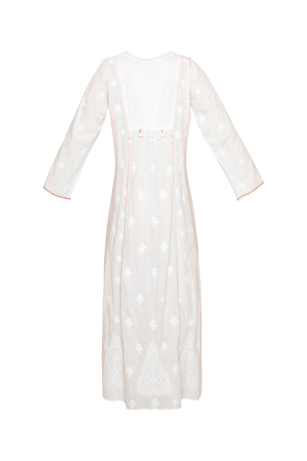 Embroidered Triangle Tassel Dress - White