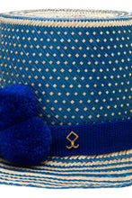 Load image into Gallery viewer, Haile Straw  Hat - Blue Pom Poms