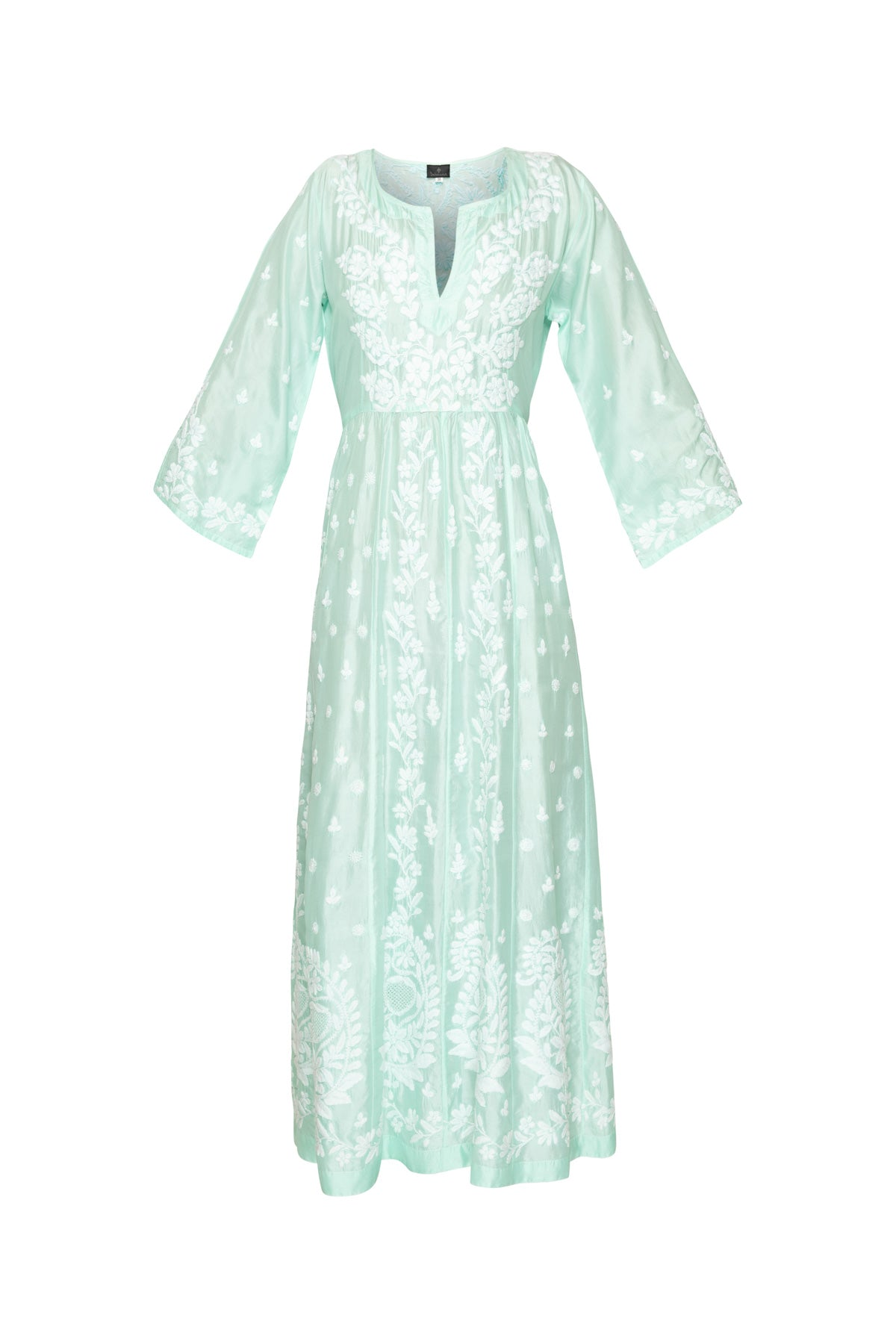 Embroidered Silk Dress With Ties - Light Turquoise