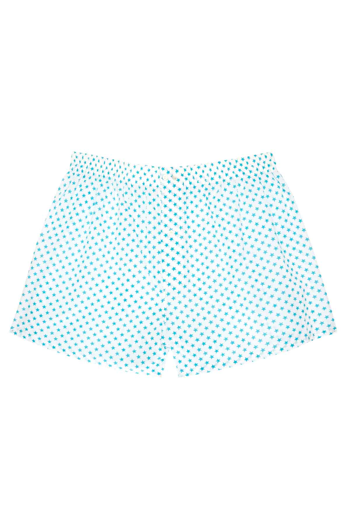 Men's Boxers - Large Turquoise Stars