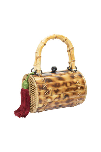 Alix Bamboo Bag with Red Tassel