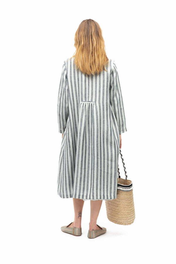 Monaco Stripe Linen Coat - Teal