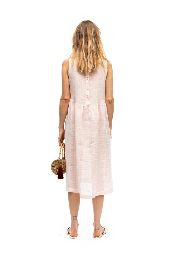 Florence Linen Dress - Pink Plaid