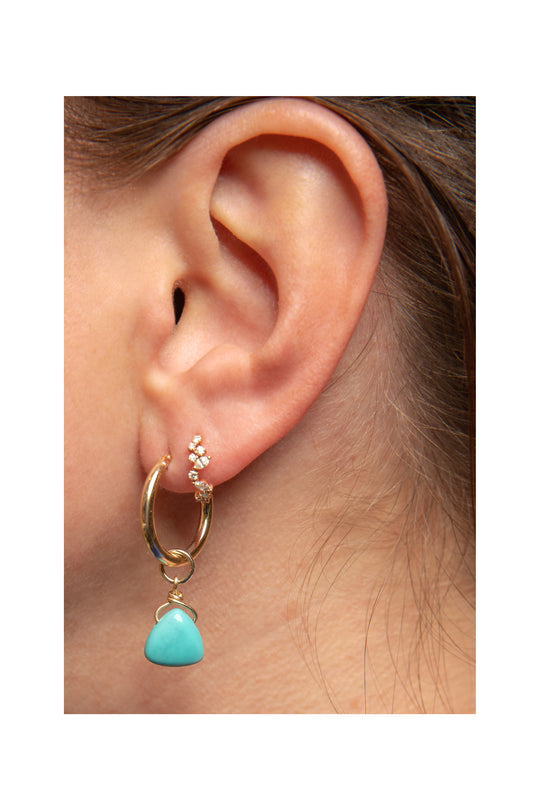 Triangular Turquoise Hoop Earrings