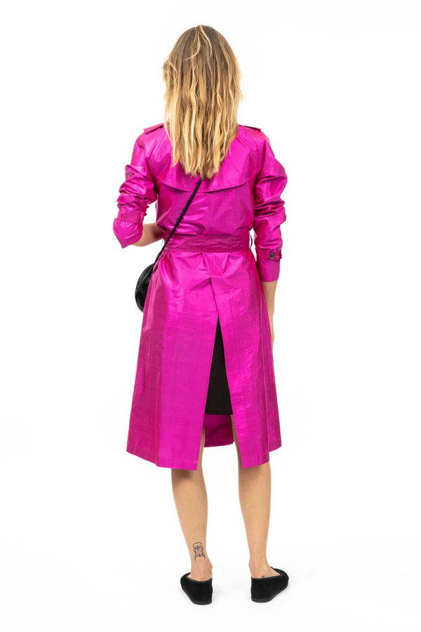 Metallic Silk Trench - Fuchsia