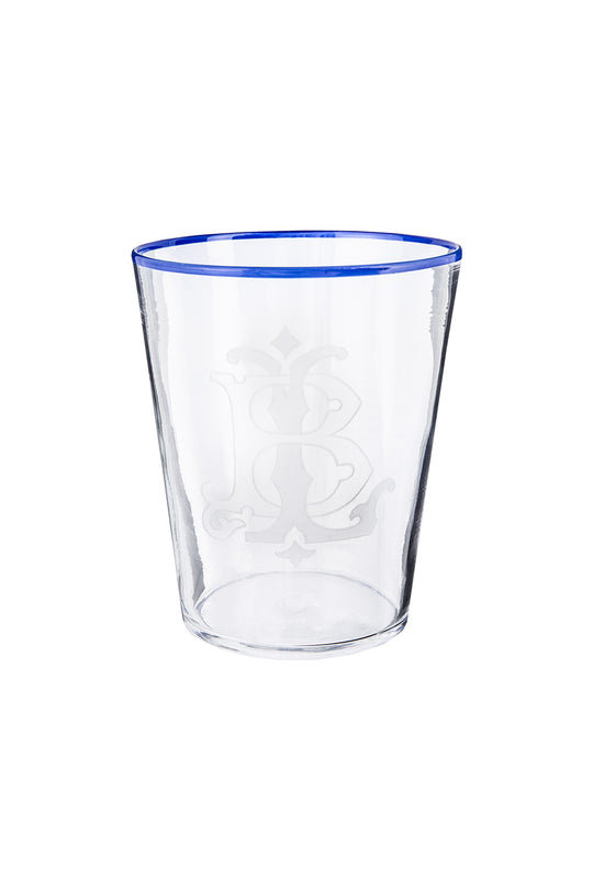 Vaso Glass - Crystal With Blue Rim