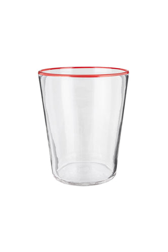 Vaso Glass - Crystal With Red Rim