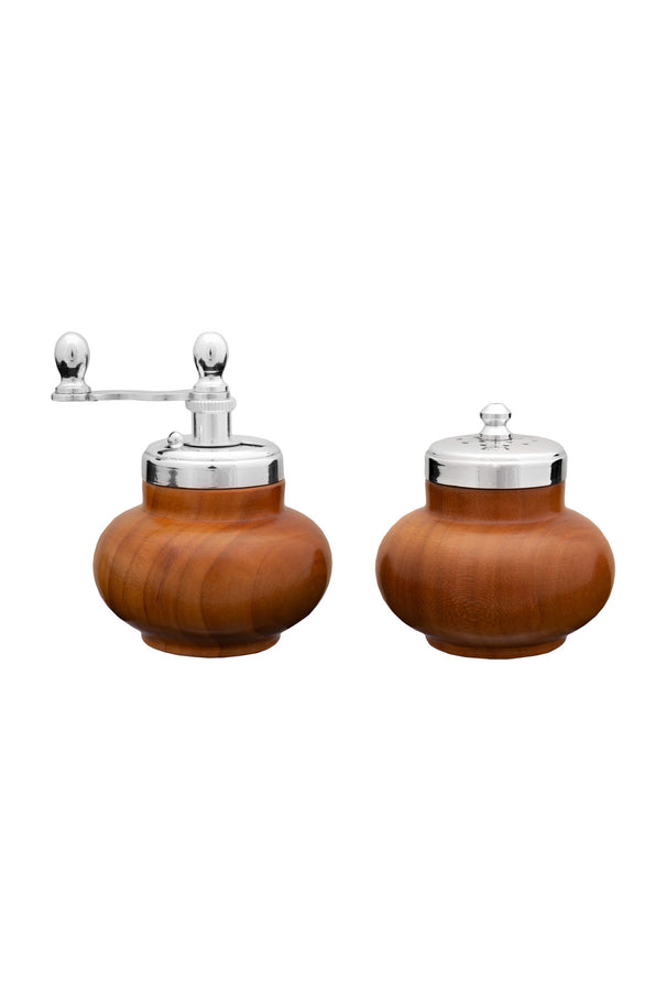 Salt & Pepper Set - Cherrywood & Silver