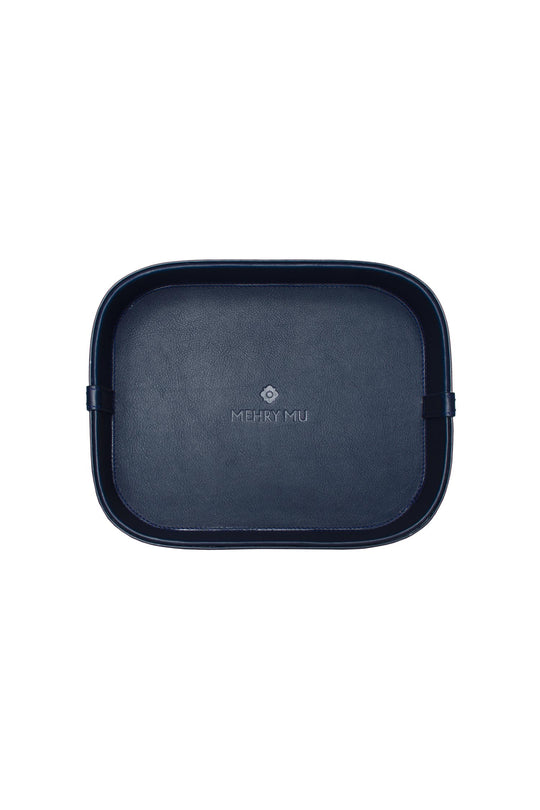 Midi Leather Rattan Tray - Navy