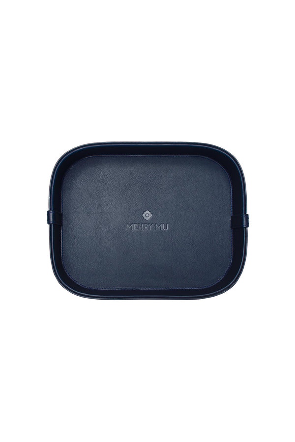 Mini Leather Rattan Tray - Navy