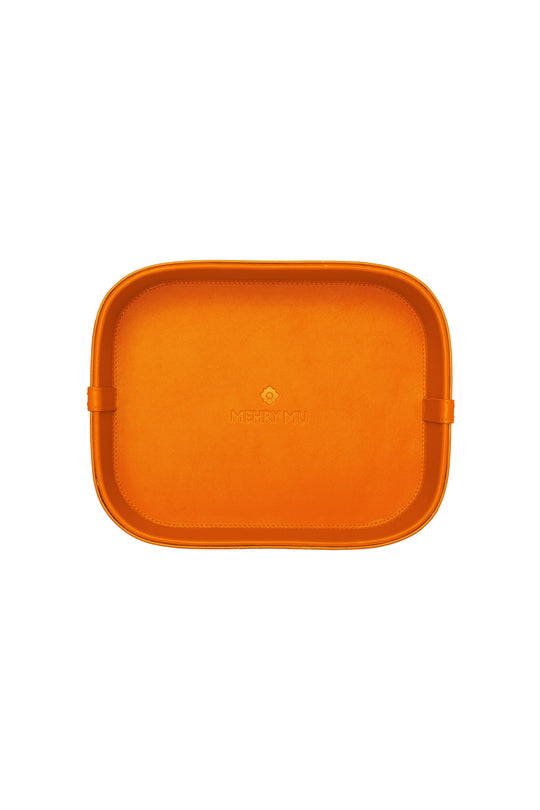 Mini Leather Rattan Tray - Orange