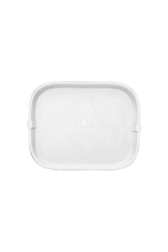 Midi Leather Rattan Tray - White
