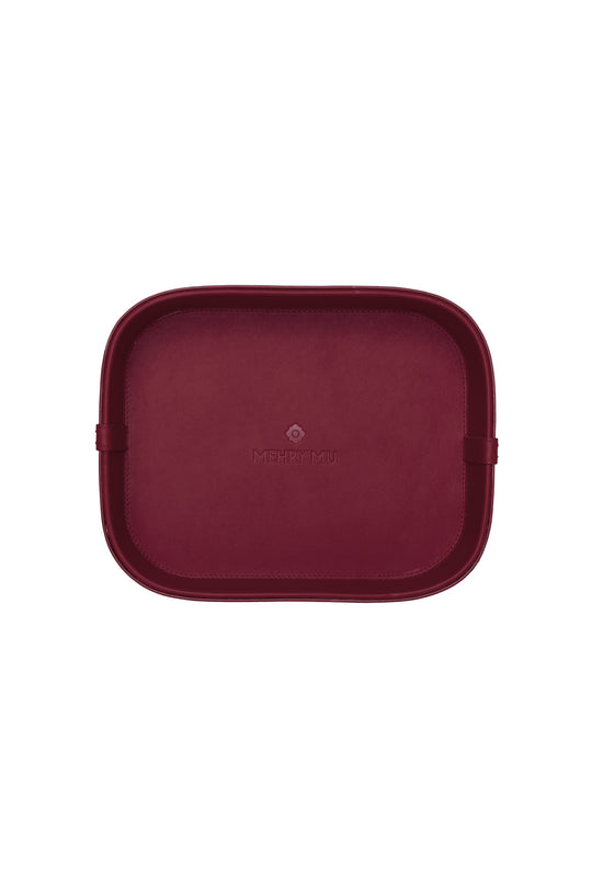 Midi Leather Rattan Tray - Burgundy