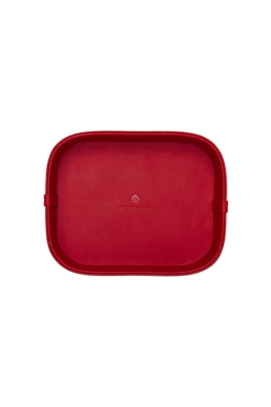 Mini Leather Rattan Tray - Red
