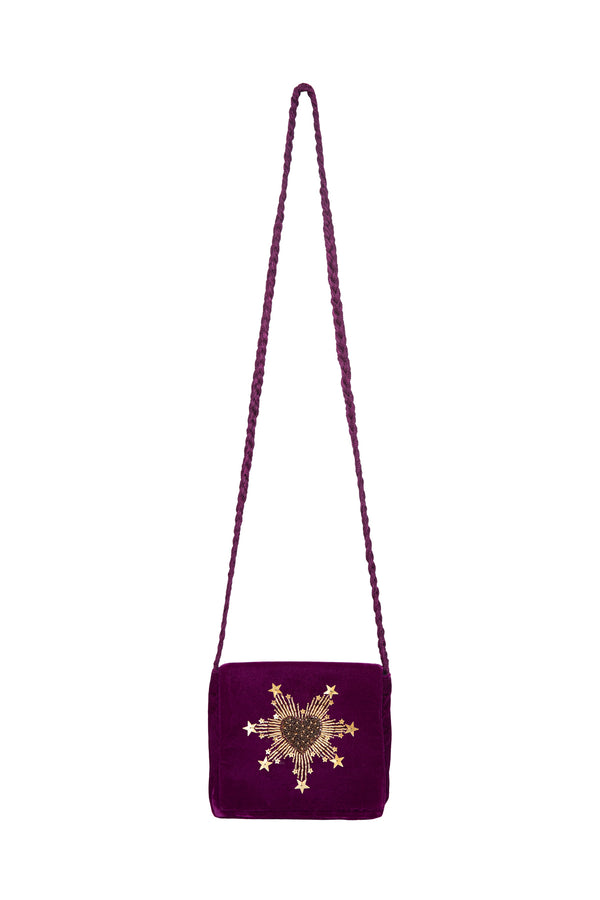 Purple Velvet Bag - Gold Heart