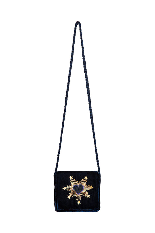 Navy Velvet Bag - Blue Heart