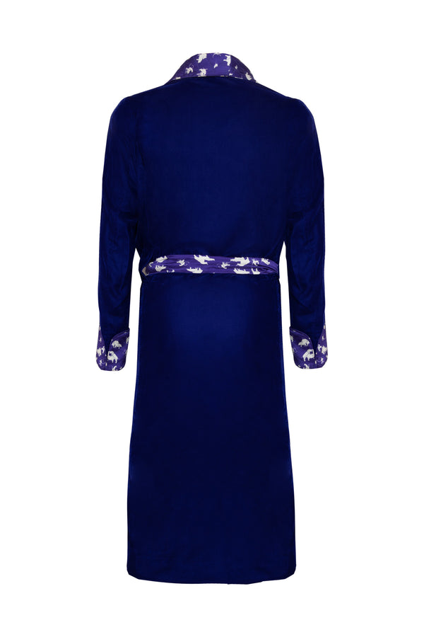 Silk & Velvet Naughty Print Dressing Gown - Blue