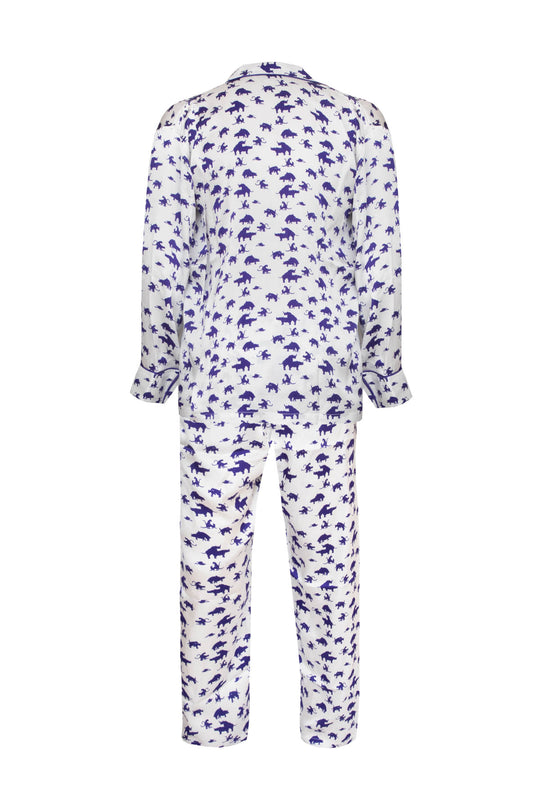 Naughty Print Silk PJ's - Blue