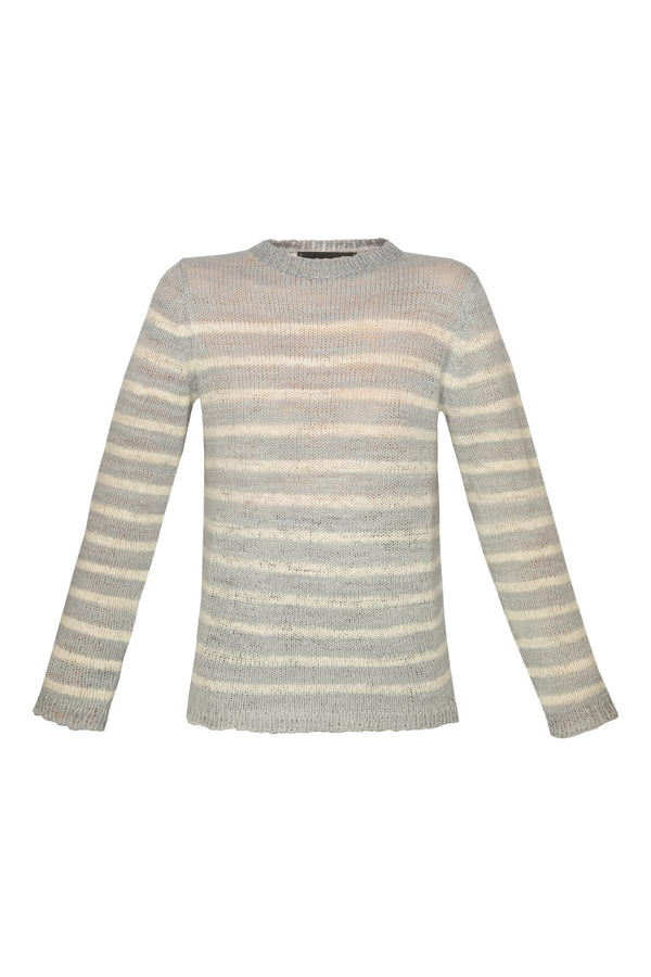 Picasso Jumper - Grey & White Stripe