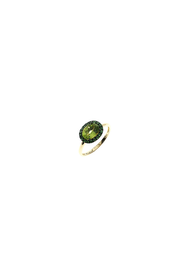 Oval Peridot & Garnet Ring