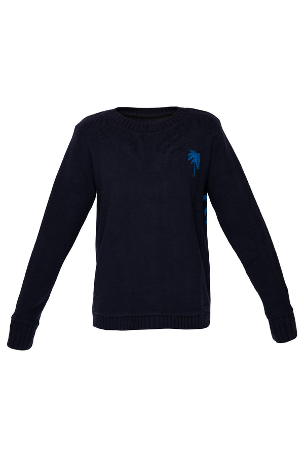 Palms Regular Sweater - Navy & True Blue