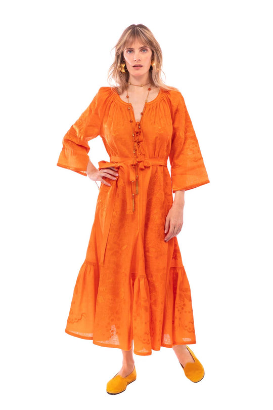 Hops Embroidered Dress - Orange