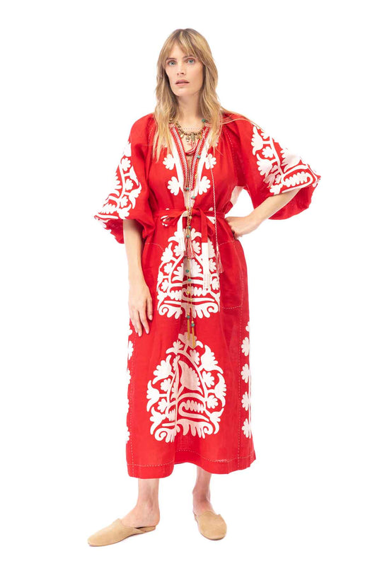 Shalimar Dress - Red & White