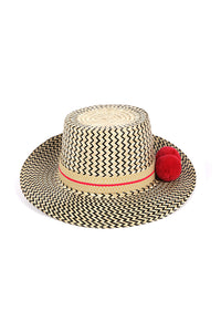 Lolita Straw Hat - Red Pom Poms