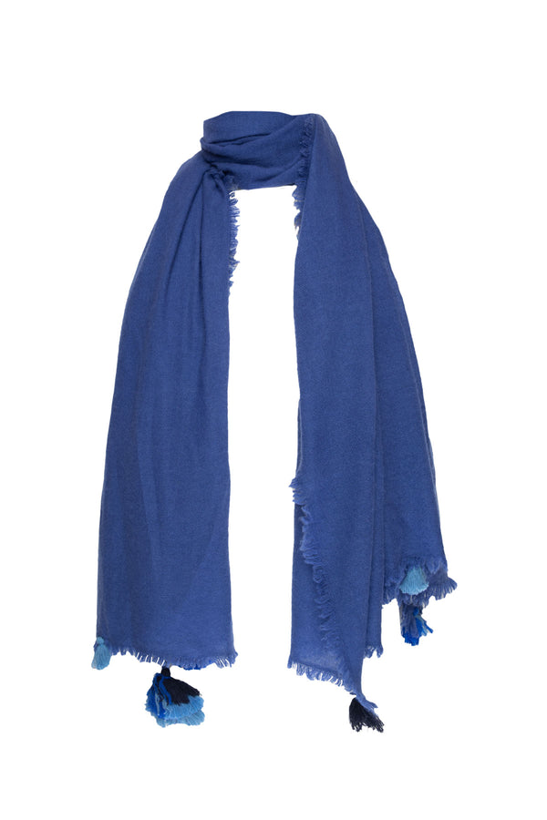 Cashmere Shawl With Tassels - Marlin Blue