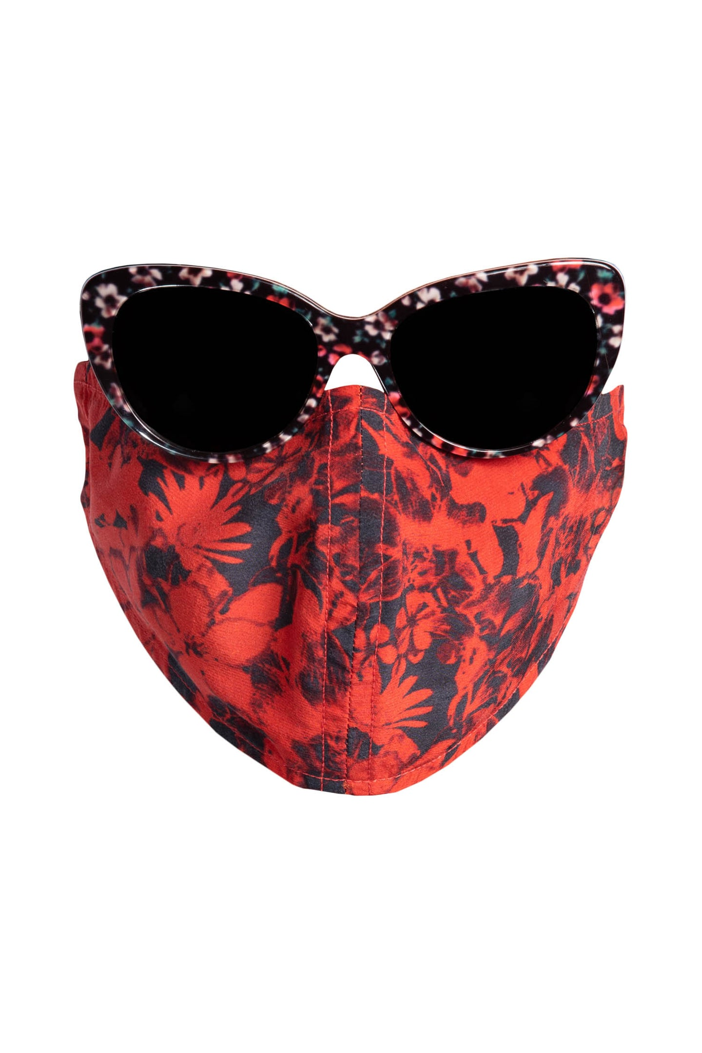 Silk Face Mask - Red Floral