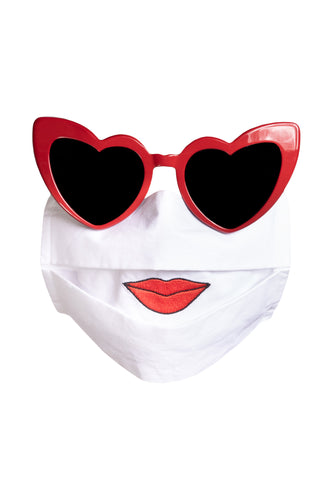 White Cotton Face Mask - Lips
